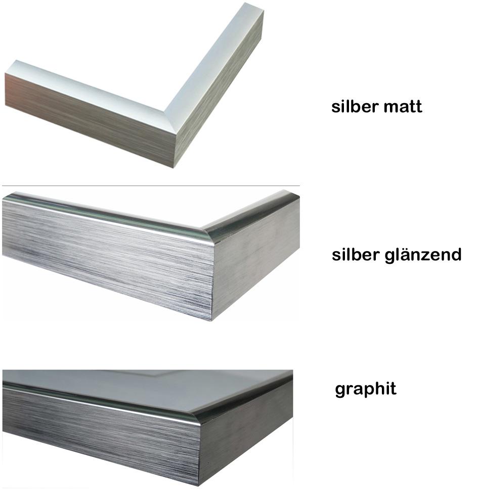 Bilderrahmen 21×30 (exakt DIN A4 21×29,7) silber matt Metallrahmen ...