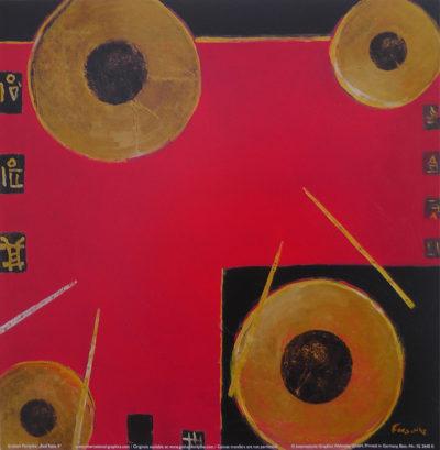Abstraktes Bild rot mit goldenen Kreisen