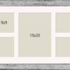 OSLO MasterLine Bilderrahmen/Passepartout 25×70 Silber Holz massiv, Echt-Glas mit 9 unterschiedlichen Ausschnitten für Collagen